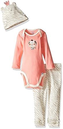 Gerber Girls' 3 Piece Bodysuit, Zebra2, 3-6 Months