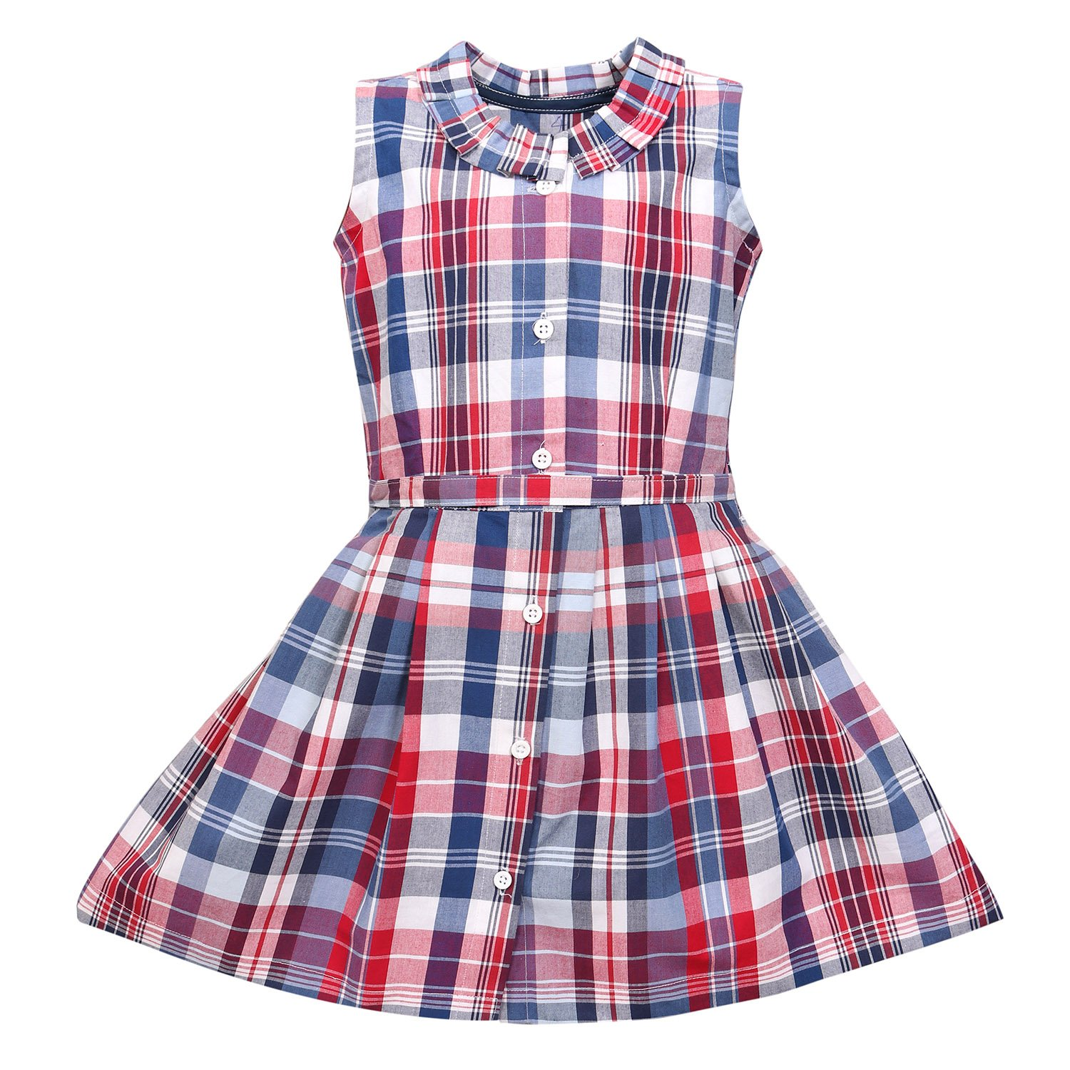 a90b83215 Champa Girls Kids Multi-Colored Checked Cotton Partywear Casual ...