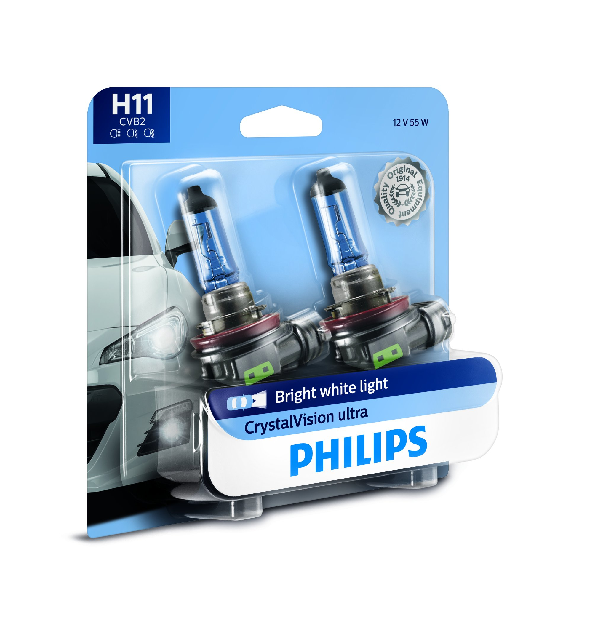 Philips H11 CrystalVision Ultra Upgrade Bright White Headlight Bulb, 2 Pack by PHILIPS