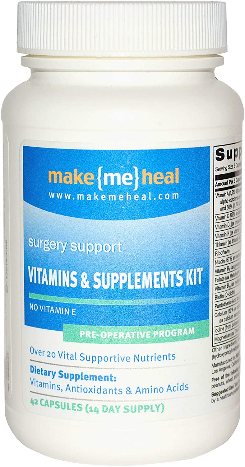 Make Me Heal Surgery Healing Supplements & Vitamins Kit - Pre-Op Formula (14 Day Supply)