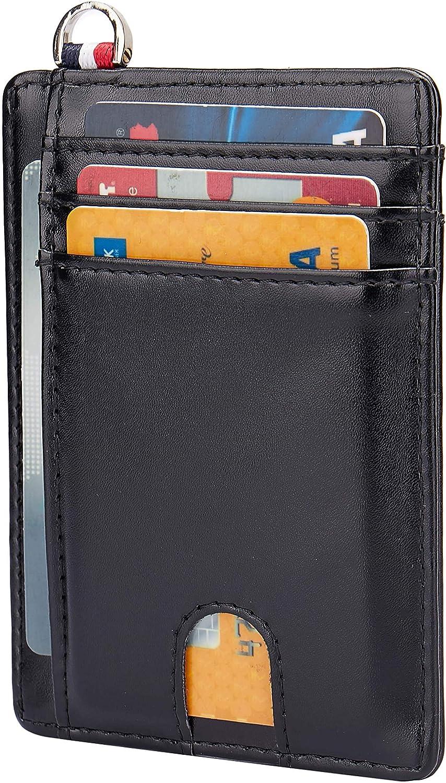 NEUX Small RFID Blocking Minimalist Credit Card Holder Pocket Slim Wallets Keychain Keyring for Men Women