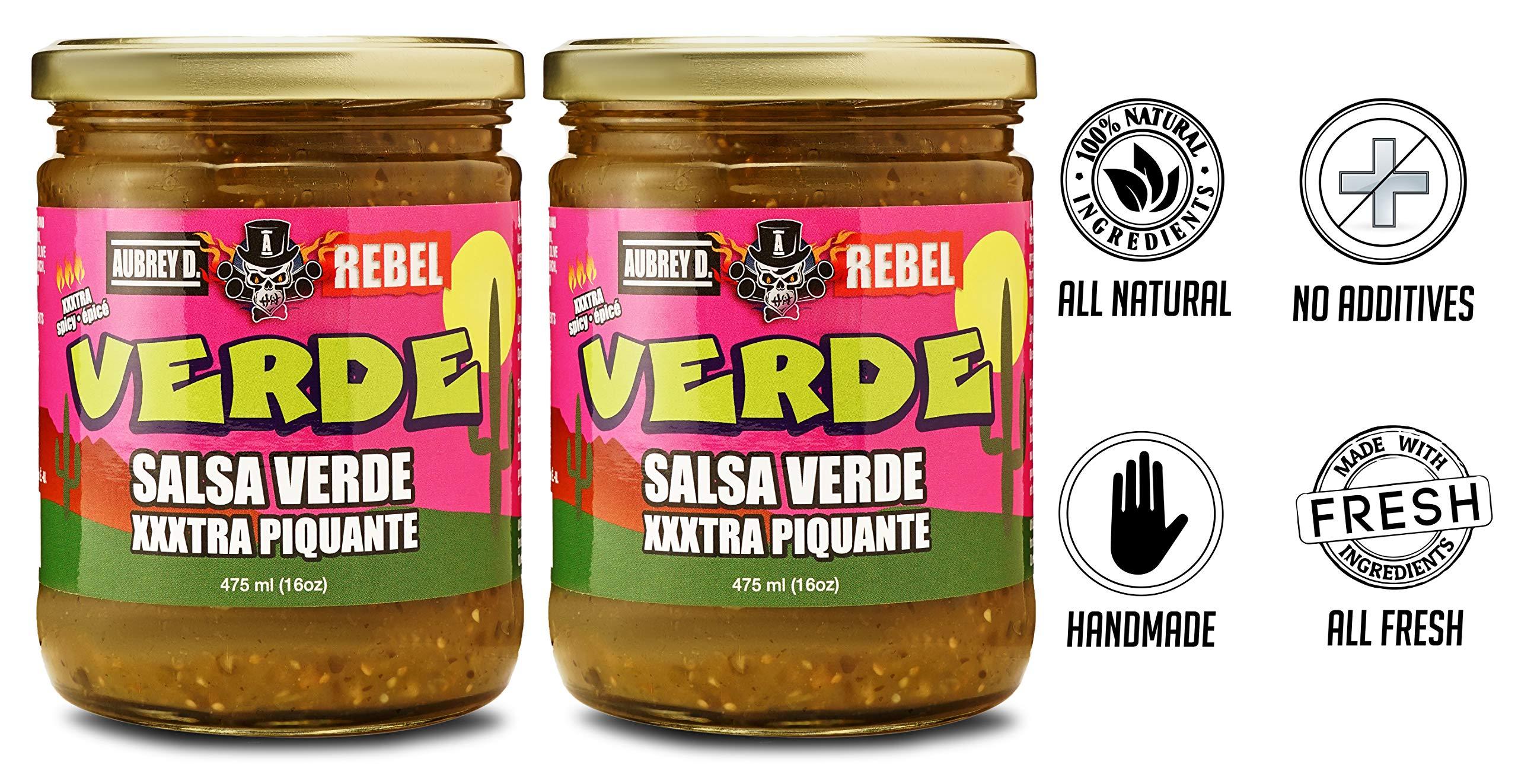 Aubrey D. Rebel Salsa XXX Verde, Vegan, Gluten Free Hot Spicy for Dipping Tortillas, Nachos, Corn Chips, Enchiladas 2 lb by Aubrey D.