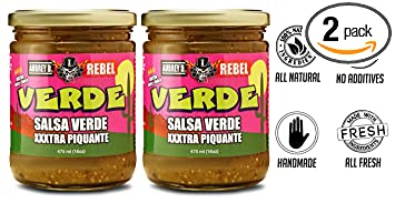 Aubrey D. Rebel Salsa XXX Verde, Vegan, Gluten Free Hot Spicy for Dipping