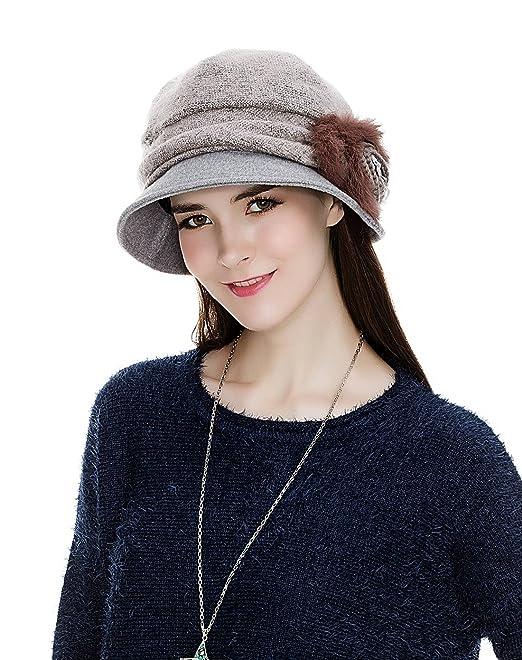 0230fcd3c7e SIGGI Cloche Round Hat for Women 1920s Winter Bucket Vintage Hats Flower  Accent
