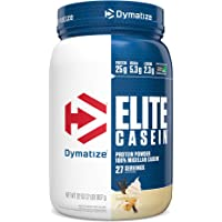 Dymatize Elite Casein Protein Powder, Slow Absorbing with Muscle Building Amino Acids, 100% Micellar Casein, 25g Protein…