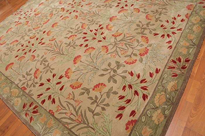 Old Hand Made Floral Bleige Tulips Traditional Persian Oriental Woolen Area Rugs (9'x12')