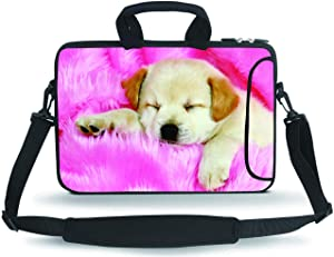 "11-13.3"" Neoprene Sleeve Notebook Messenger Case Tote Bag(Pink Dog)"