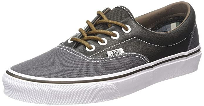 Vans Era Unisex-Erwachsene Low-Top Sneakers Grau (Leather/Plaid/Asphalt/Beluga)