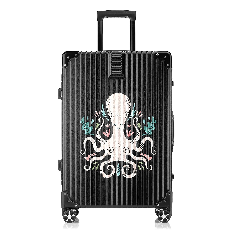 GSHCJ スーツケース 海洋生物のタコ キャリーケース 20インチ おしゃれ ブラック Tsaロック搭載 プリント ハード 超軽量 軽い 機内持込 ロックファスナー 旅行 ビジネス 出張 海外 修学旅行 丈夫 便利 レディース メンズ 学生 B07RX7LQFG