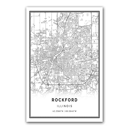 Squareious rockford map poster print modern black and white wall art scandinavian home decor