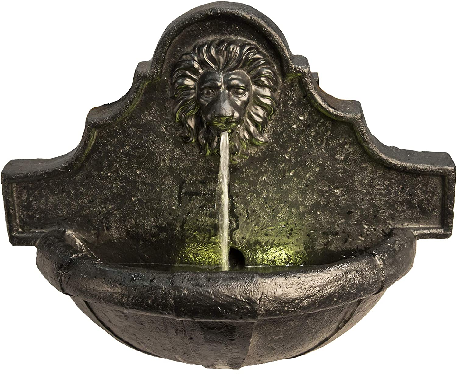 """Peaktop VFD8433 Outdoor Indoor Wall Mounted Lion Head Waterfall Water Fountain with Led Light and Pump for Patio Garden Backyard Decking, 18"""" Height, Charcoal"""