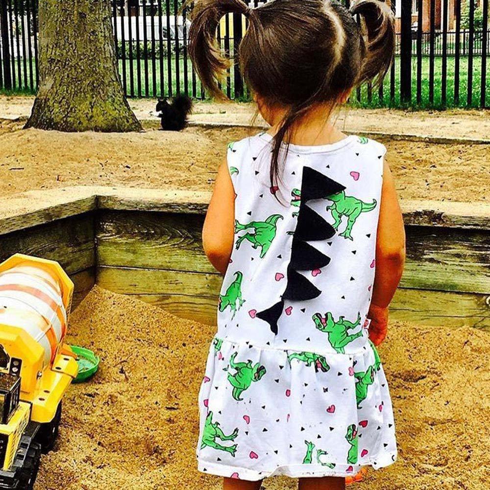 Vicbovo Little Girl Toddler Baby Cartoon Dinosaur Sleeveless Dress Sundress Summer Clothes