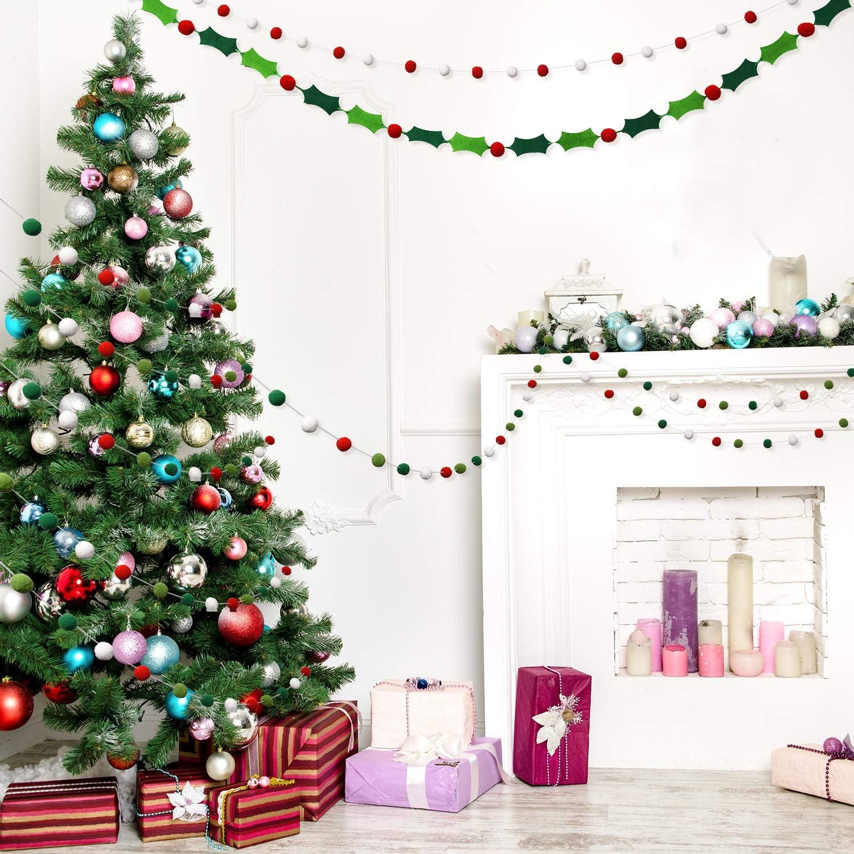 30 bolas no requiere bricolaje Guirnalda de bolas de fieltro para Navidad decoraci/ón de Navidad 25 mm