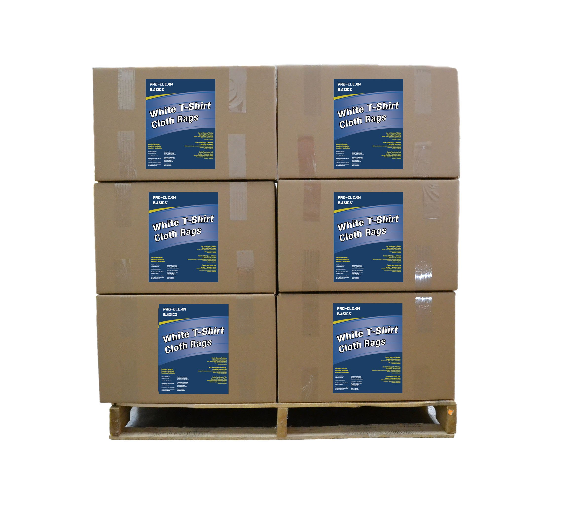 Pro-Clean Basics A95011 White T-shirt Rags Pallet, 630lbs per pallet or 42 x 15lbs Cartons