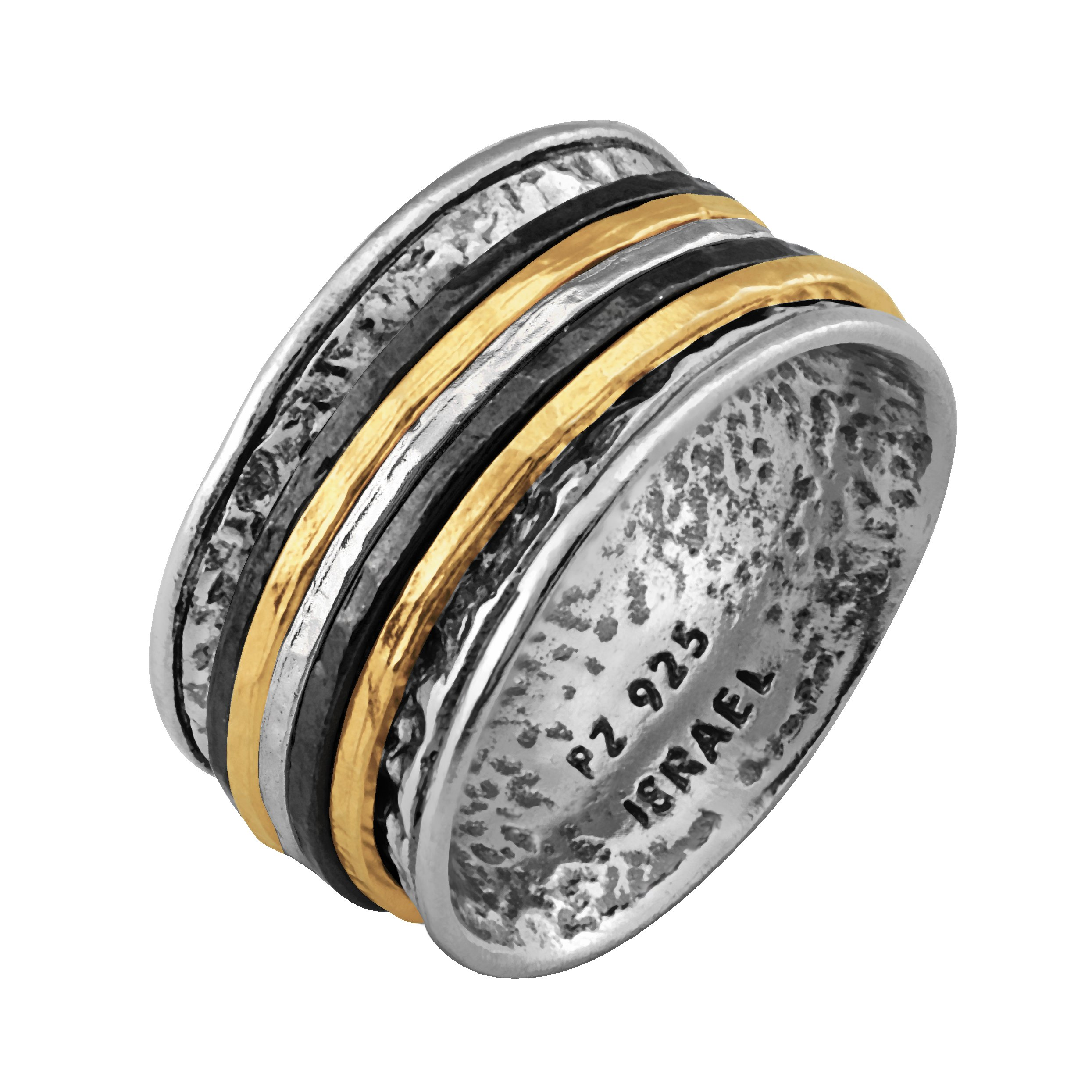 Paz Creations .925 Sterling Silver Ring With Gold Over Silver And Black Rhodium Spinners, Made in Israel (9)