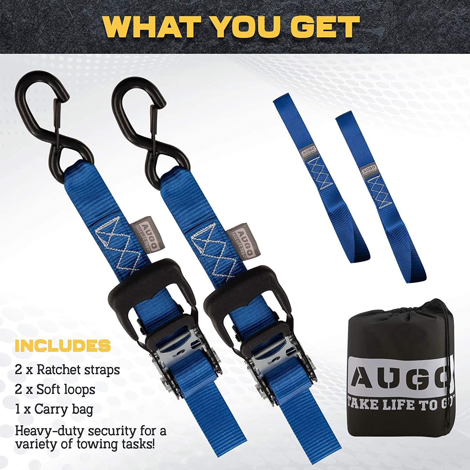 """4400Lb Break Strength for Motorcycles ATVs AUGO Heavy Duty Ratchet Straps /& Soft Loops Etc. Pack of 2 Extra Strong 1.5/"""" by 10/' Ratchet Straps w//S-Hook Safety Latches /& 2 Soft Loop Tie Downs"""