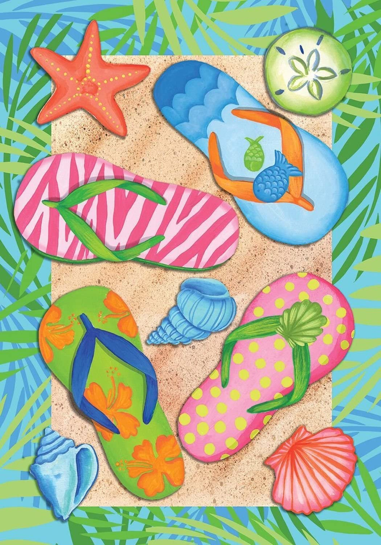 "Briarwood Lane Tropical Flip Flops Summer Garden Flag Sand Beach Nautical 12.5"" x 18"""