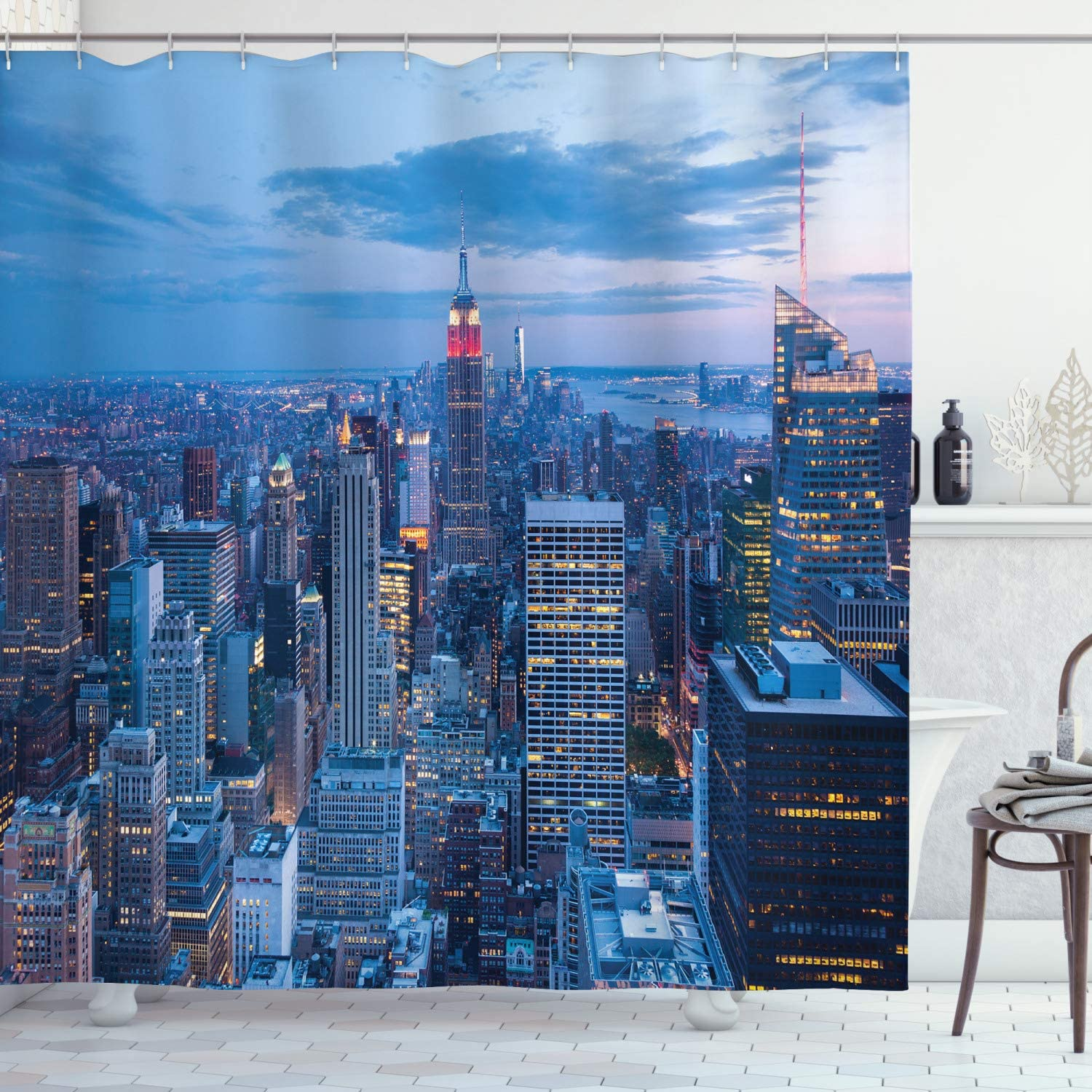 """Ambesonne New York Shower Curtain, Aerial Night View of NYC with Dusk Sky Cloudy Sunset in City Fashion Capital Art Photo, Cloth Fabric Bathroom Decor Set with Hooks, 75"""" Long, Blue"""