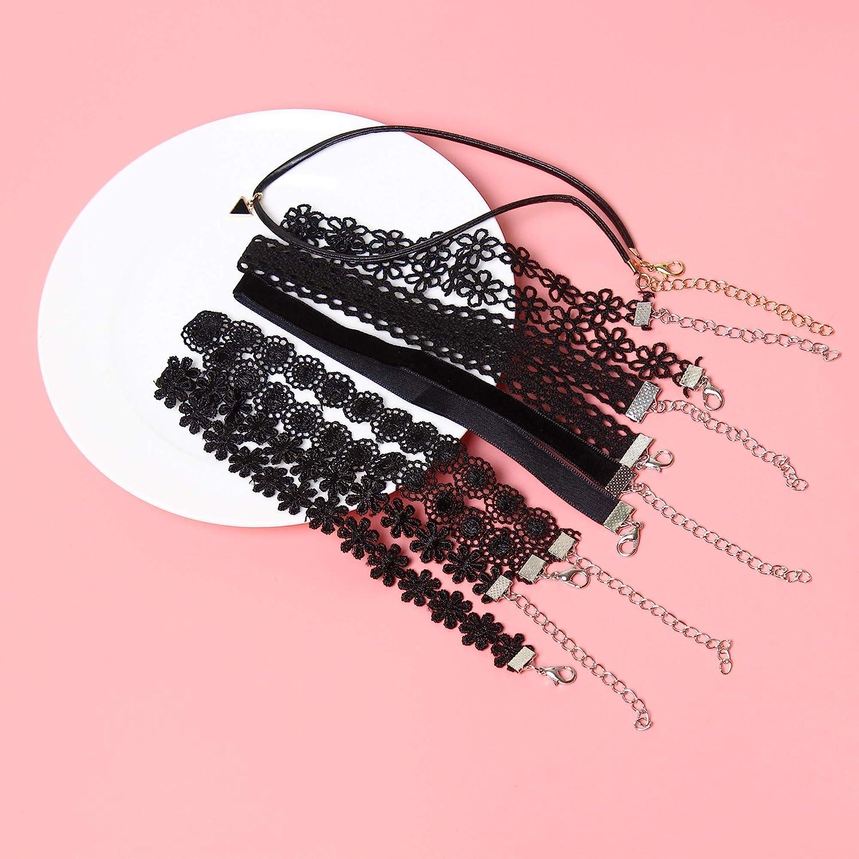 Maxforever Choker Set 6 PCS Choker Necklaces Black Velvet Choker Set Classic Gothic Tattoo Lace Chokers