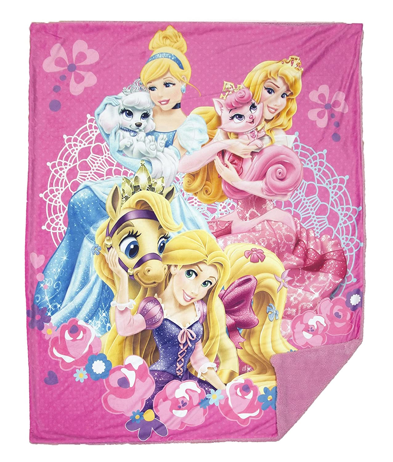 Disney Princess Cozy Throw Blanket 50 X 60 in Soft & Cozy Reverses to Sherpa