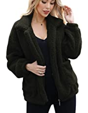 ANRABESS Women's Fashion Long Sleeve Lapel Zip Up Faux Shearling Shaggy Oversized Coat Jacket Outwear Warm Winter