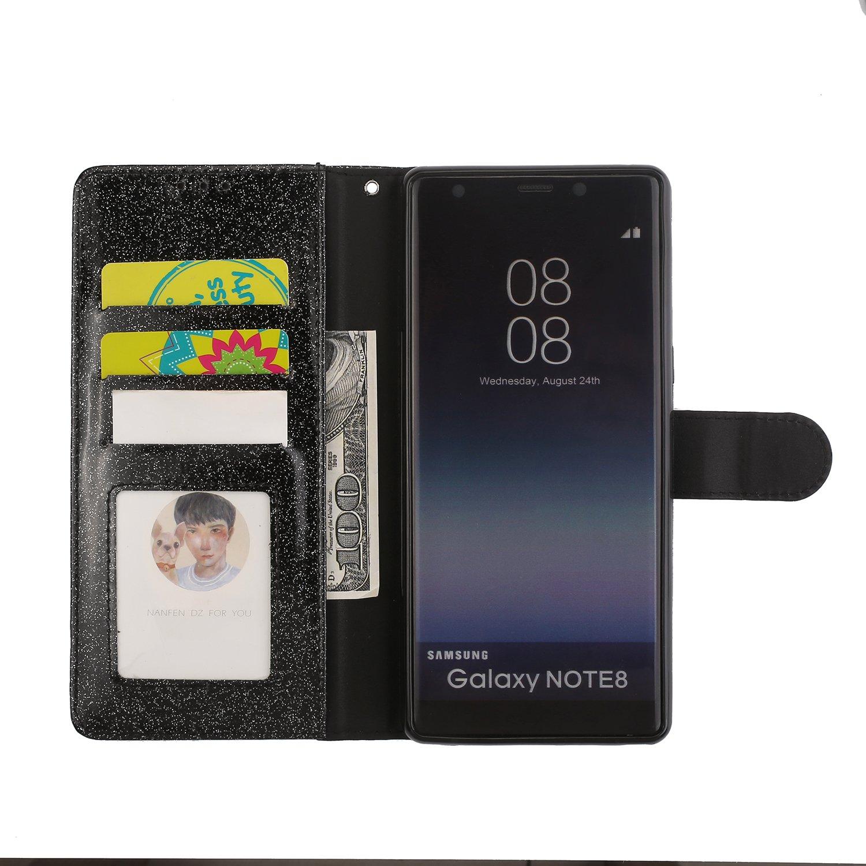 ZCXG Kompatibel mit Handyh/ülle Samsung Galaxy Note 8 H/ülle Leder Gold Diamant H/ülle Glitzer Magnet D/ünn Tasche Kartenfach Brieftasche M/ädchen H/ülle Silikon Innere Klappbar Flip Stand Cover