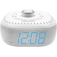 DreamCaster by Sharp Sound Machine Alarm Clock with Bluetooth Speaker, 6 High Fidelity Sleep Machine Soundtracks – White…