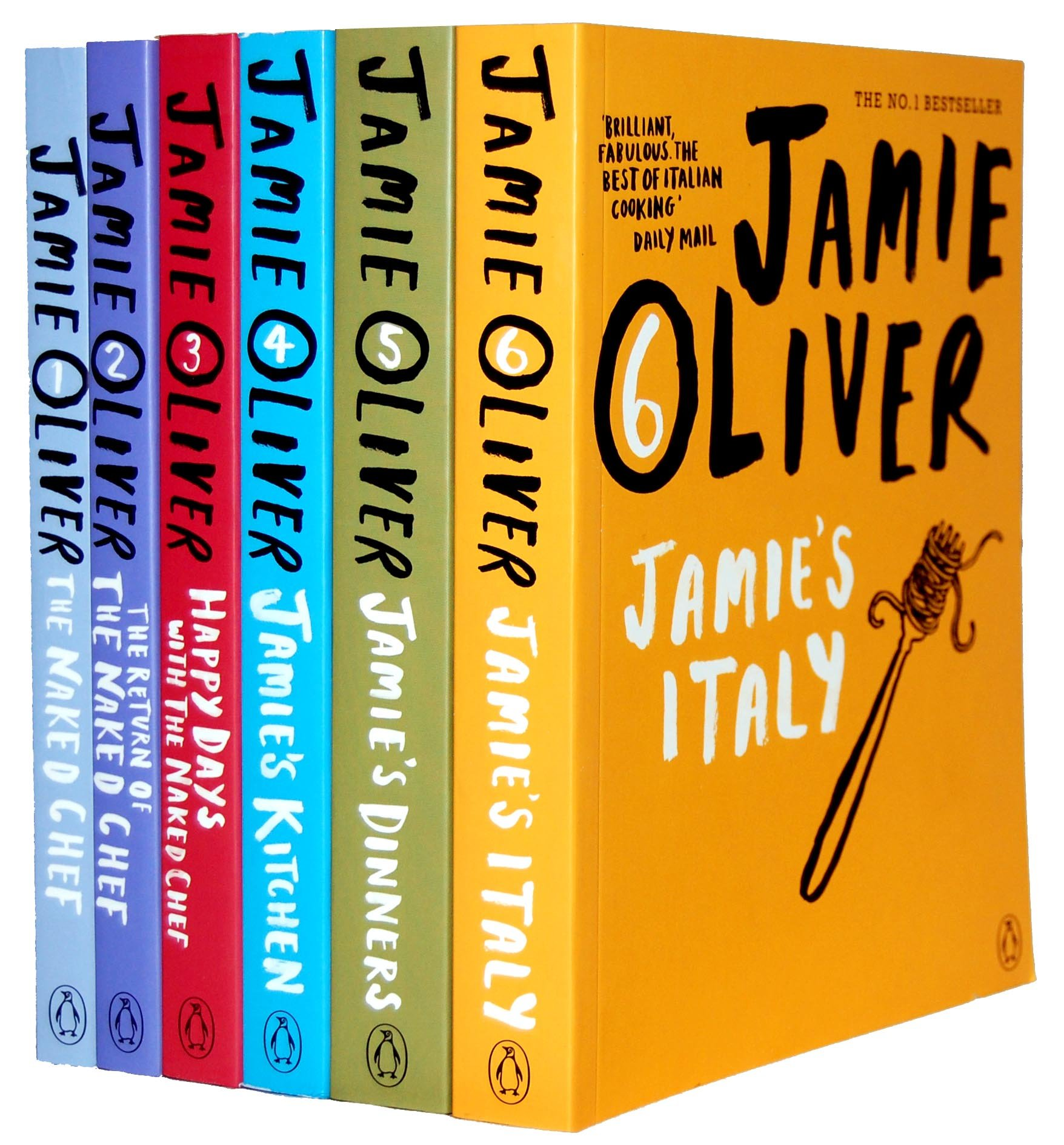 Jamie Oliver Collection 6 Books Bestsellers Set RRP £95.94 (The Naked Chef,  The Return Of Naked Chef, Happy Days with the Naked Chef, Jamies Kitchen,  ...