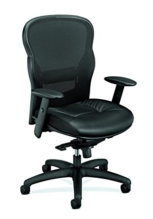 HON Wave Executive Leather Chair – Mesh High-Back Task Chair with Arms, Black HVL701