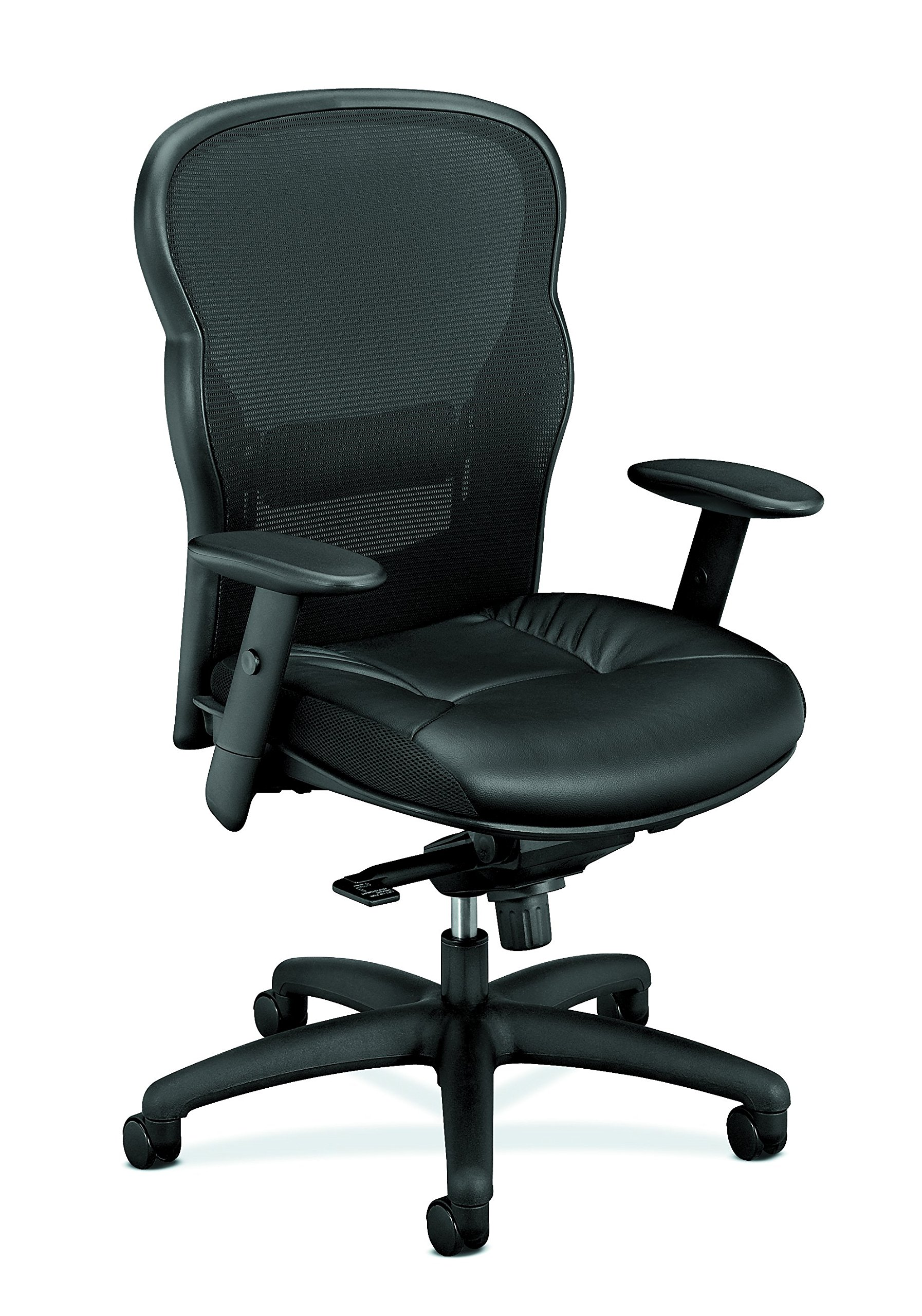 basyx by HON Executive Leather Chair - Mesh High-Back Task Chair with Arms, Black (HVL701)