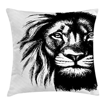 KAKICSA Lion Throw Pillow Cushion Cover, Wild African Safari ...