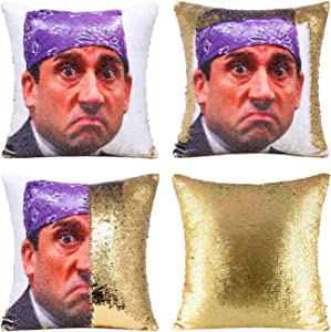 "Tiaronics Magic Reversible Sequin Pillow Cases Mermaid Pillow Cases Throw Pillow Covers Cushion Cover Decorative Pillowcase 4040cm(1616"") (Prison Mike/Gold)"