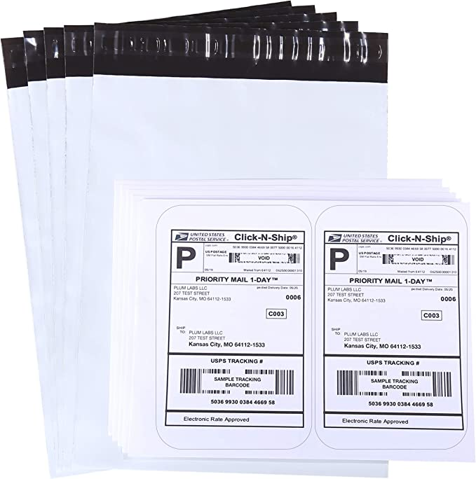 Colored Self Adhesive Shipping Labels 10x13 Christmas Tree Designer Mailers