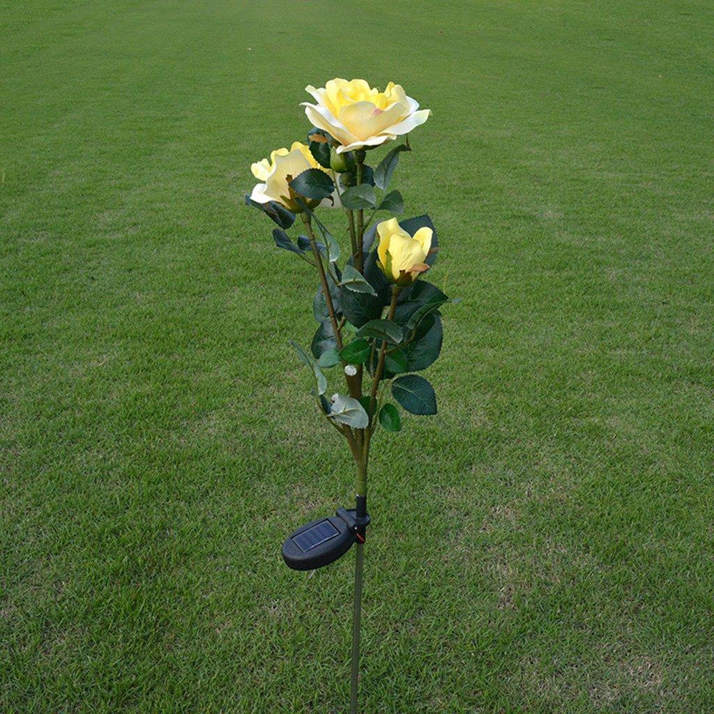 SYlive Solar Flower Lights , Solar Power Yellow Rose Flower Light Waterproof Lamp For Garden