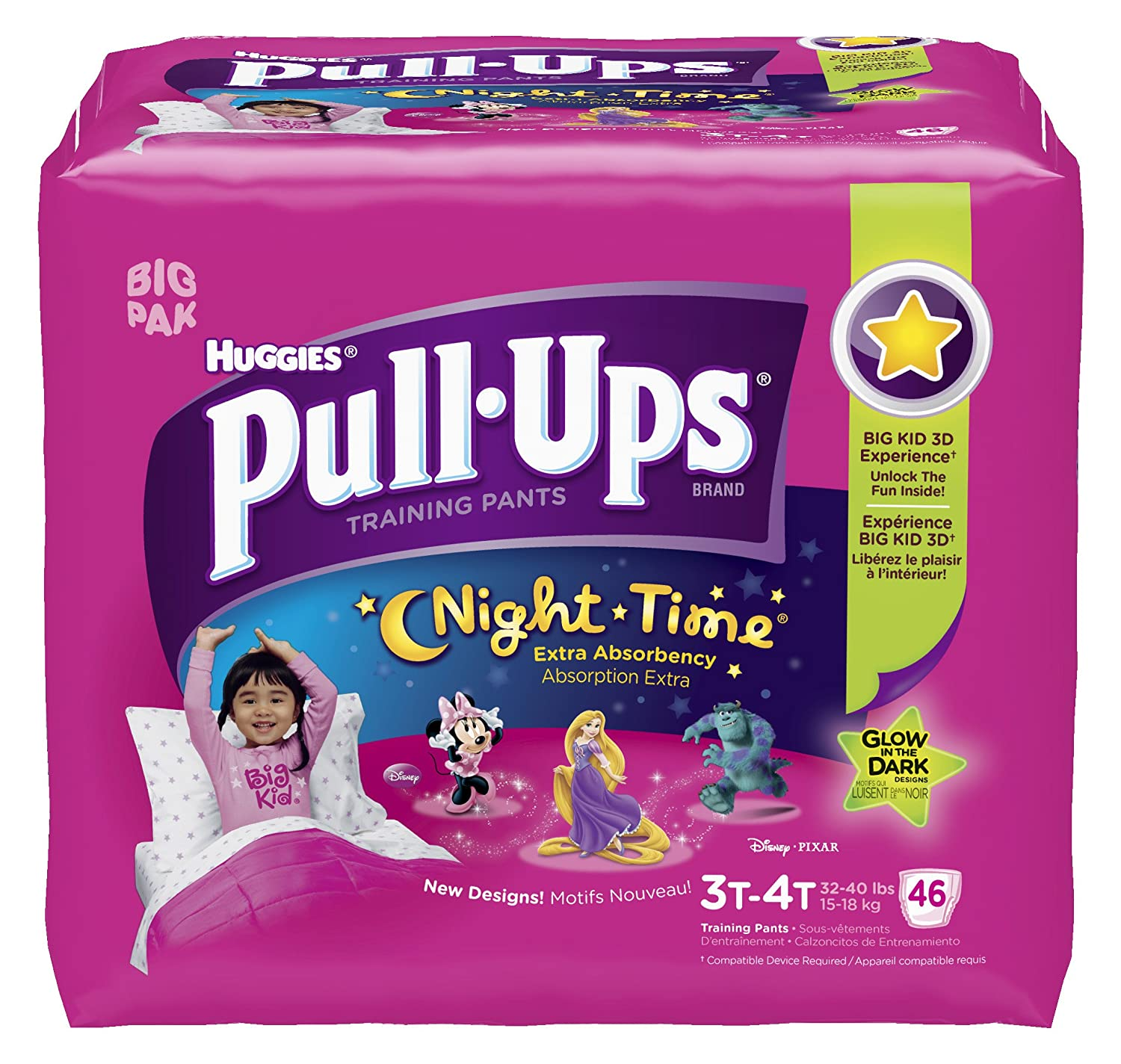Amazon.com: Huggies Pull-Ups Night-time Training Pants, Size 3T - 4T, Girl,  46 Count (Pack of 2): Health & Personal Care