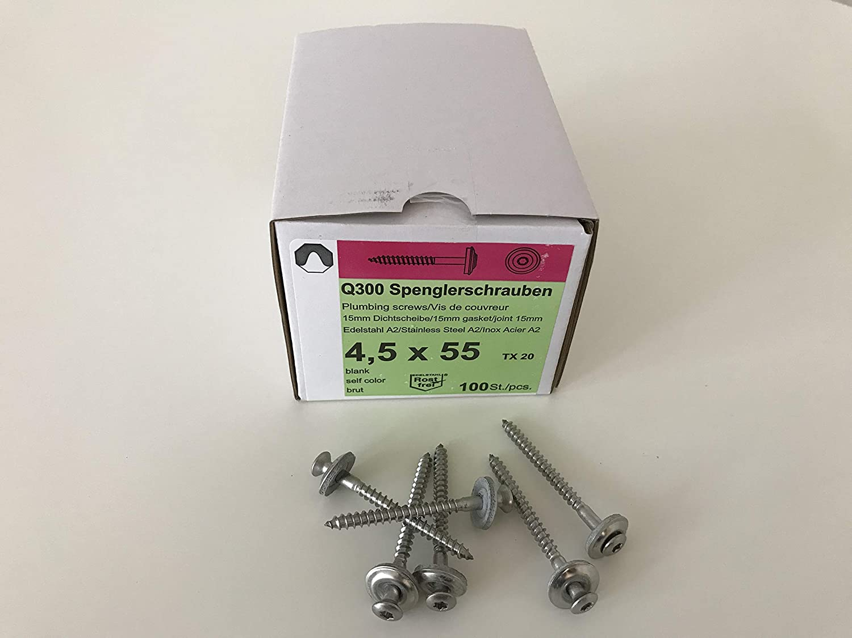 Set aus je 100 St/ück Kalotten /& Abstandhalter /& Spengler-Schrauben TX20 EPDM-Dichtscheiben 4,5x55mm f/ür Trapez-Sinus Profil 76//18 Wellplatten PMMA Acrylglas