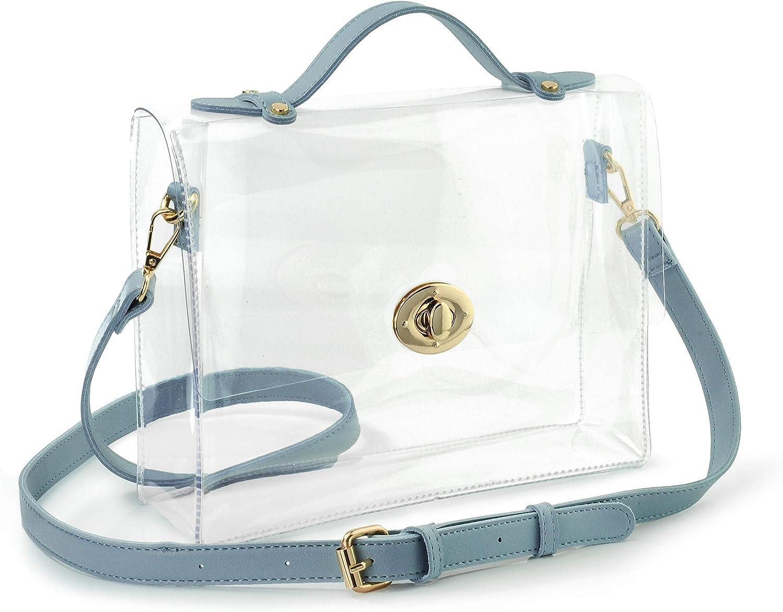 Clear Bag with Turn Lock Closure Cross Body Bag Womens Satchel Transparent Messenger Shoulder Handbag