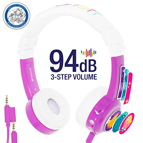 built in headphone splitter 2 Pack In Line Mic Explore Foldable Model: Foldable Pink housing adjustable volume limiting lock super durable Detachable Cable Blue for iPad Kids Headphones by Onanoff comp