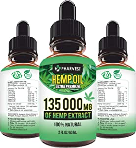 Pure Hemp Extract 135 000 MG for Pain Relief, Relaxation, Sleep and Mood Support, Natural, Organic, Vegan, Zero CBD