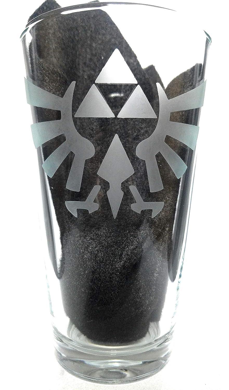 Handmade Glass Etched Zelda 360 Pint Glass