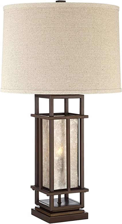 Matthew Modern Rustic Farmhouse Table Lamp With Nightlight Led Caged Brown Metal Oatmeal Fabric Drum Shade For Living Room Bedroom House Bedside Nightstand Home Office Family Franklin Iron Works Amazon Com