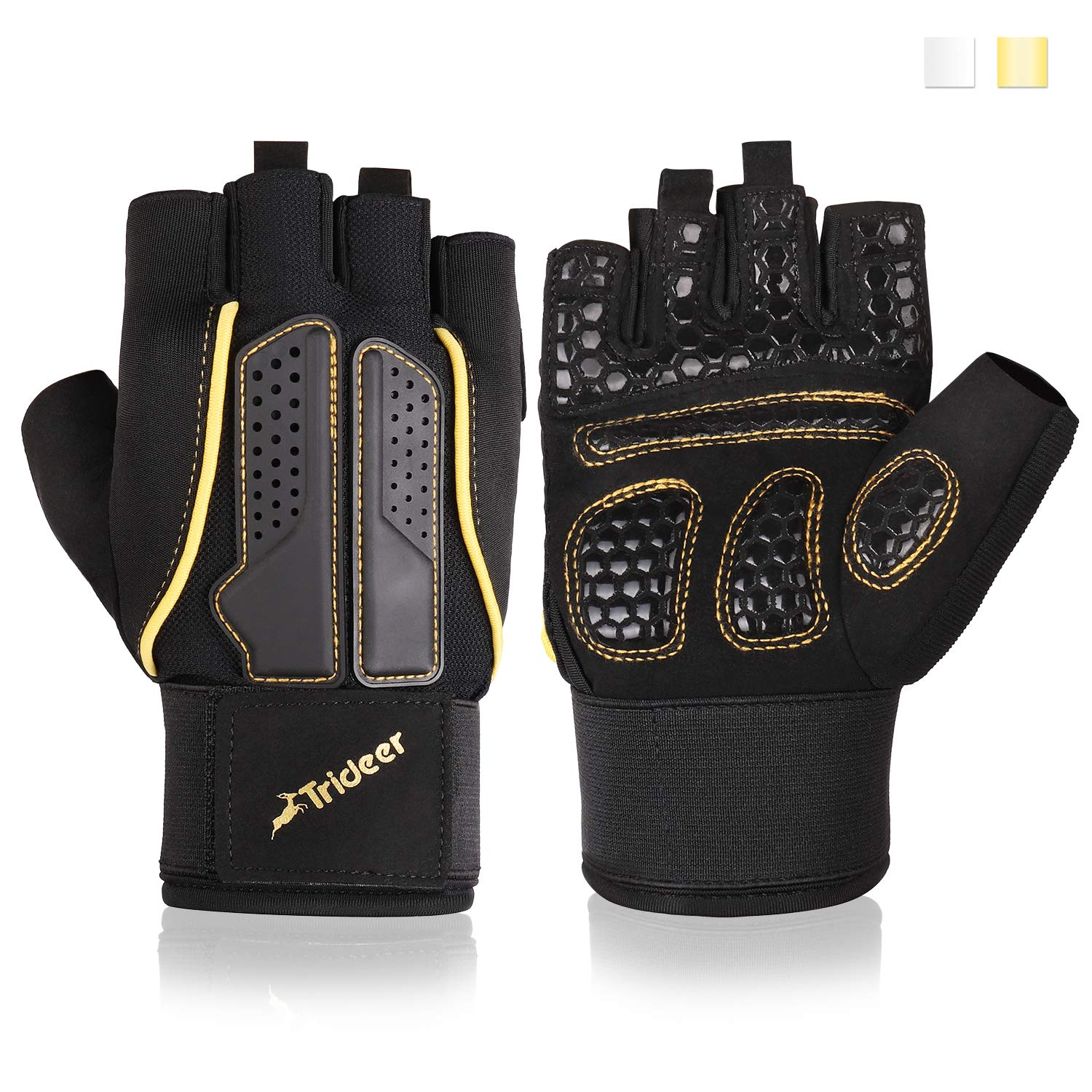 Trideer Padded Weight Lifting Gloves, Gym Gloves, Workout Gloves, Rowing Gloves, Exercise Gloves for Powerlifting, Fitness, Cross Training for Men & Women (A# Golden Basic, S (Fits 6.9-7.5 Inches))
