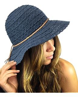 Lanzom Women Wide Brim Straw Foldable Roll up Cap Fedora Beach Sun ... 0984cb0c3622