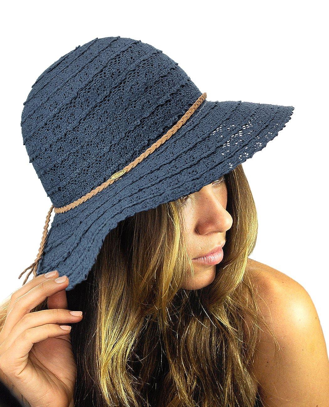 NYFASHION101 Open Knit Brown Braided Trim Vented Cotton Beach Sun Hat ST39-BG