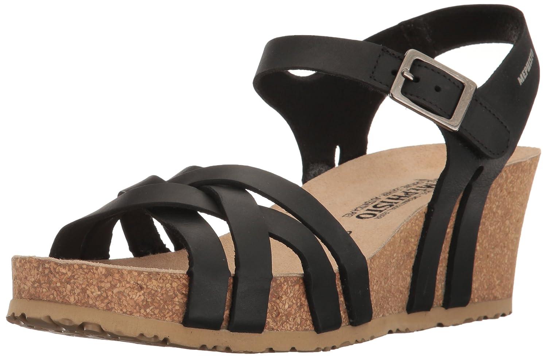 Mephisto Women's Lanny Wedge Sandal B01KYKCM24 5 B(M) US|Black Scratch