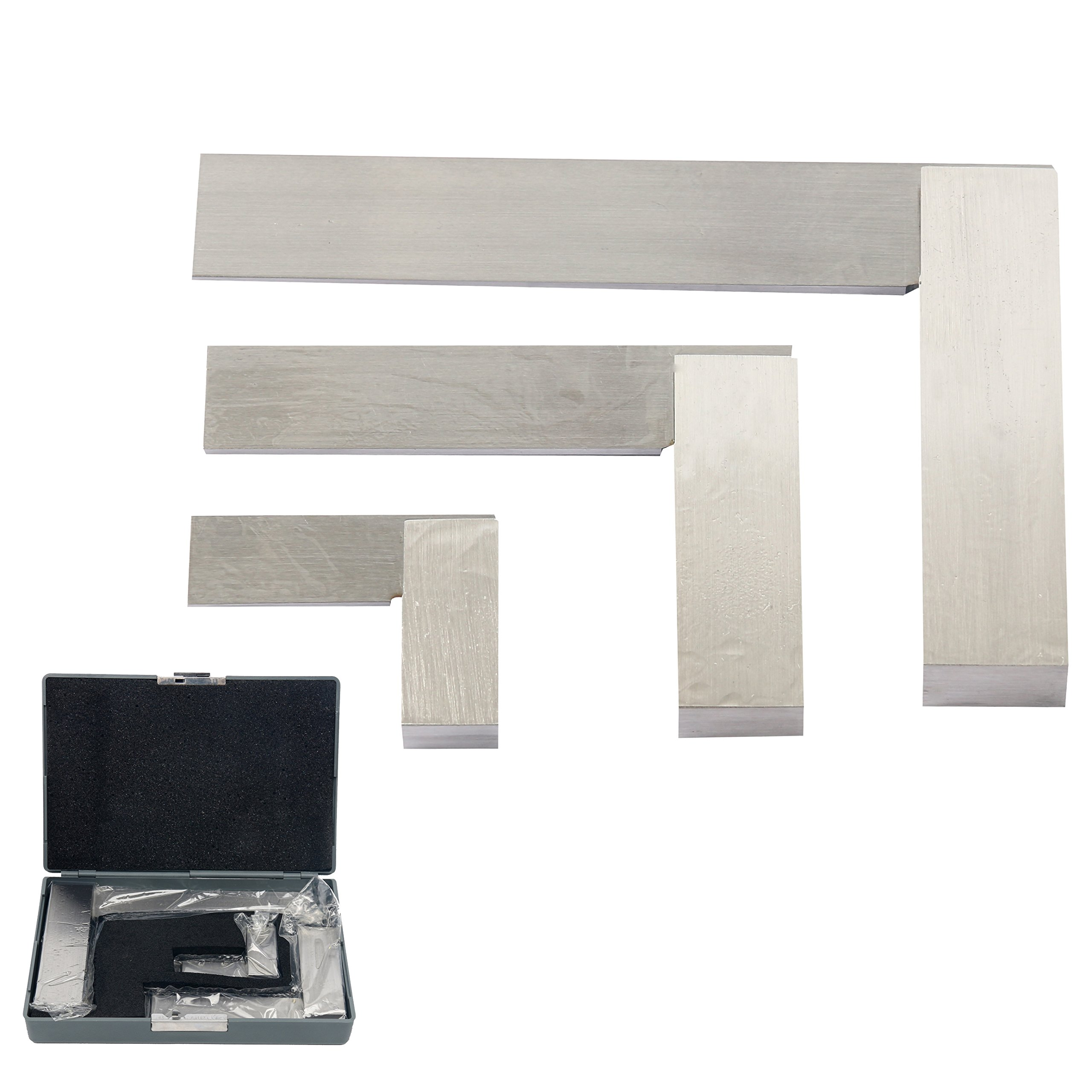 YaeTek Machinist Squares 90 Degree Right Angle Engineer's Set- 2'' 4'' 6'' DIN STANDARD 875, Machinist Square Set, 3-PIECE
