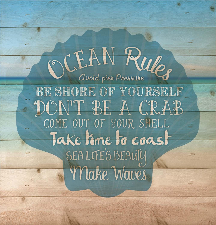 P. GRAHAM DUNN Ocean Rules Seashell Beach Design 12 x 12 Wood Pallet Design Wall Art Sign Plaque