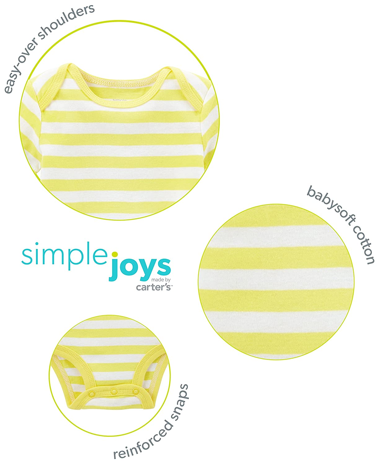 Simple Joys by Carters Baby 5-Pack Neutral Long-Sleeve Bodysuit 0-3 Months Gray//White