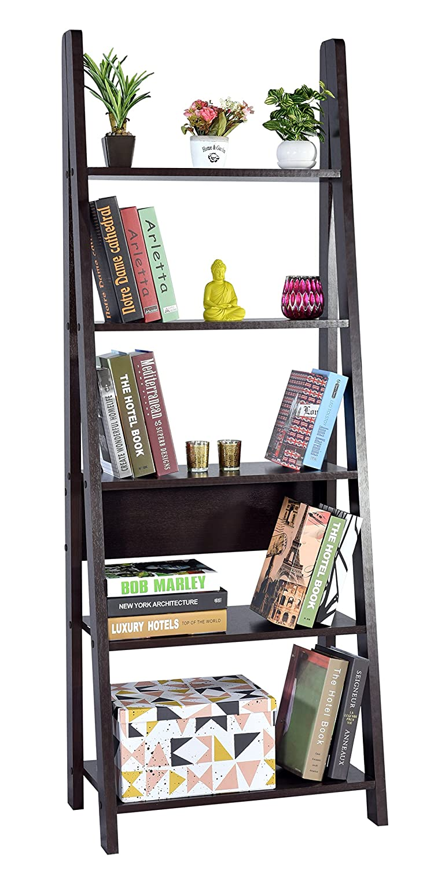 DeckUp Reno Ladder Bookshelf, Matte Finish (Dark Wenge)