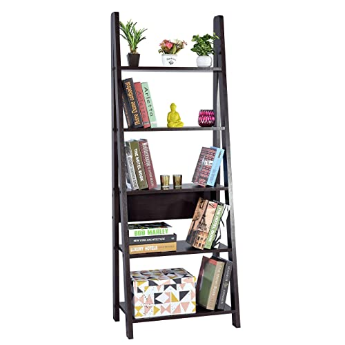 DeckUp Reno Ladder Bookshelf Matte Finish Dark Wenge